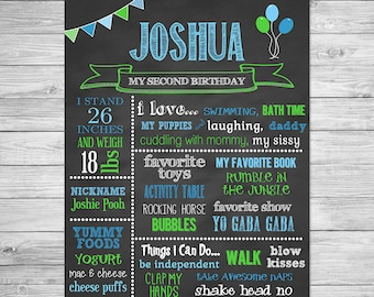 First Birthday Chalkboard of Favorite Things Poster Printable, Birthday Chalkboard, Digital First Birthday Chalkboard Sign - 225