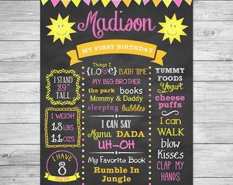 First Birthday Chalkboard Poster Printable,  You Are My Sunshine, Birthday Chalkboard Sign, Sunshine Birthday