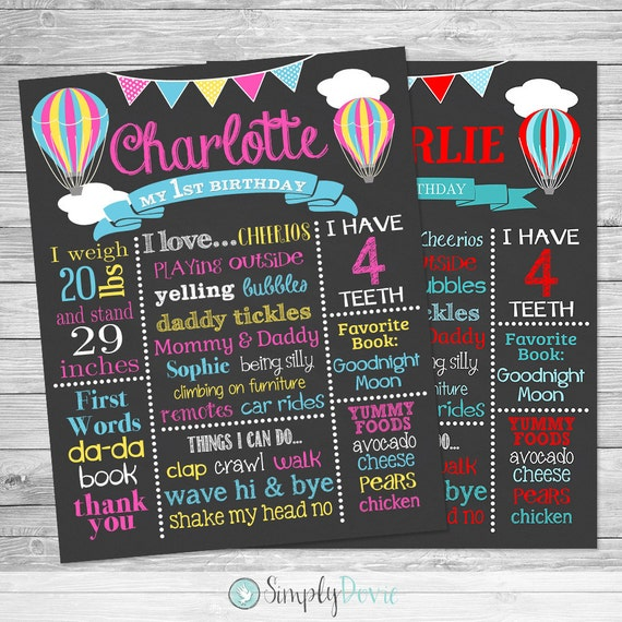 Birthday Sign Ups: Hot Air Balloon First Birthday Chalkboard Poster Of Favorite