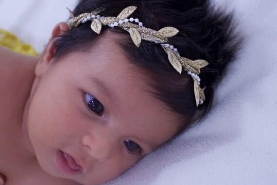 Birthday Baby Headband, Greek Headband, Pearls Headband, Baptism Headpiece, Gold Headband, Grecian Headband, Baby Headband, Baby Girl Crown