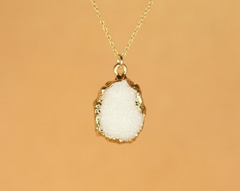 Druzy necklace - raw crystal necklace - silver druzy necklace - quartz necklace - a gold lined snowy white druzy on a 14k gold vermeil chain