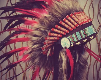 Red and Black Feather Headdress / Warbonnet