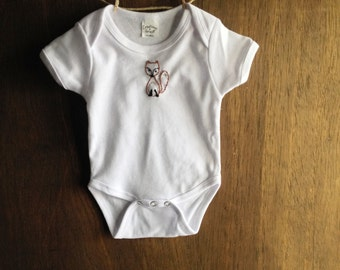 Hand Embroidery - Fox Onesie - Hand Embroidered Fox Onesie - Baby Shower Gift - Embroidered Fox on Onesie - Hand Embroidered Baby Clothes