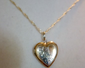 Vintage Sterling Silver Heart Locket, Etched Silver Heart Locket and Chain