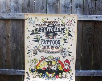 """Vintage Limited Edition 36"""" by 24"""". Poster, Born To Lose by Illicits Founding Artist  Martin F Edmond"""