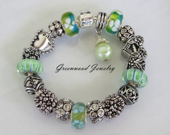 Green Grass, European Style Charm Bracelet - Green Lampwork Glass And Crystal Beads and Charms