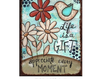 """LIFE is a GIFT, Art Print 8"""" x 10"""", Original Painting Mixed Media by Sue Allemand, Inspirational Spiritual Art Quote, Nursery Children's Art"""