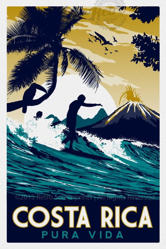 Costa Rica Retro Vintage Travel Poster Screen Print