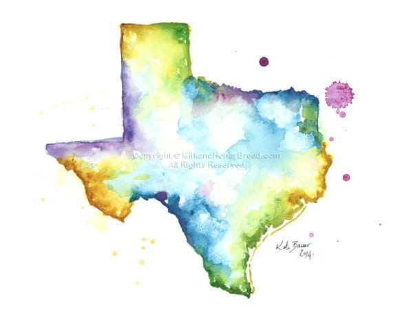 Texas Map Archival Print Watercolor Map Print Map Wall - Full map of texas