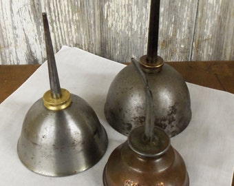 Vintage Salvage Farm Find Brass Lids on Eagle Oil Cans Nice