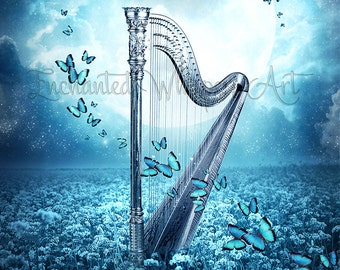 Fantasy harp with butterflies art print