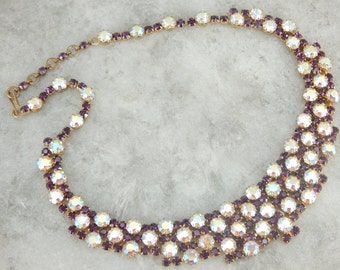 Retro Era Purple and White Rhinestone Necklace XEDJLE-N