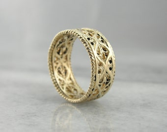 Fine Yellow Gold Filigree Band or Stacking Ring 4FRQ5A-D