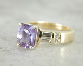 Lilac Purple Sapphire and Baguett Diamond Ring RCTEV2-R