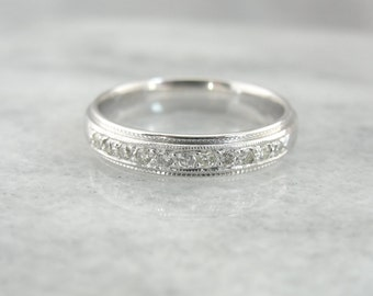 Vintage White Gold and Diamond Wedding Band R606HQ-P
