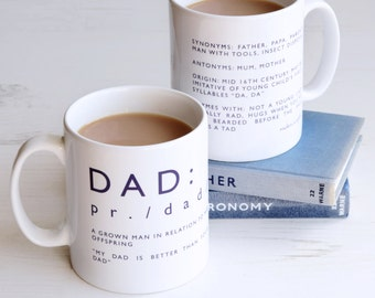 DAD DEFINITION MUG Fathers Day. Navy Blue and White Ceramic Funny Father Description Beard Diy Farting Spiders Dictionary Joke Geek English