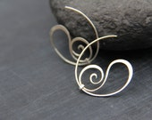 Swirly sterling silver or copper hoop studs, hoop earrings. round studs, wire wrap, hand forged, silver 925, spiral, flourish, elegant