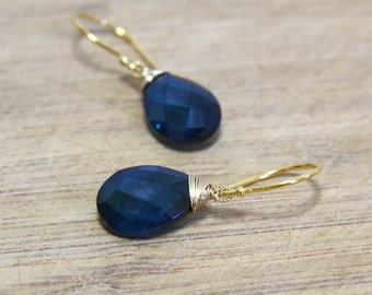 London blue Topaz Wire Wrapped Briolette Earrings in 24K Yellow Gold Vermeil , Canada , December Birthstone , Wedding , Bridal , From Canada