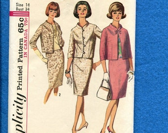 1960's Simplicity 5881 Mid Century Ladie's Suit with Waist Jacket & Pencil Skirt Size 14