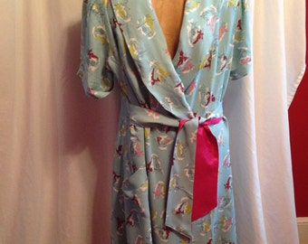 1950 Print Wrap Dress