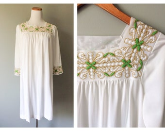 Vintage Lingerie Night Gown Embroidered Yoke Neck Dress 1960s Negligee White Nightgown Nylon Pajama Party One Size Small Medium Large XL