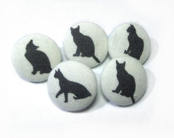 Fabric buttons Black Cats Kitten, covered bag purse ivory buttons, funny cat buttons, children buttons, sewing buttons, sweater buttons