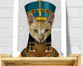 Egyptian Queen Cat, Wall Art wall decor Wall Hanging Cat Print, cat poster, cat decor, cat illustration, cat picture, cat gift for cat lover