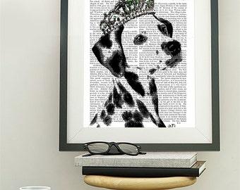 Dalmatian Print, Tiara, Princess Dog Print dog poster dog wall decor dog illustration dog picture dog gift dog print dog art dalmation print