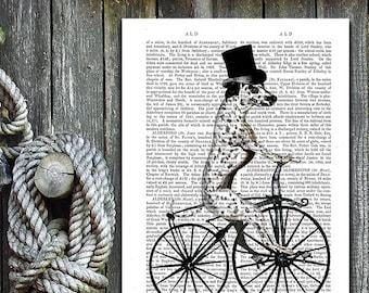 Dalmatian Gift for Dalmatian owner Dalmatian décor - Dog On Bicycle - Dalmation print Dalmatian lover Cute dalmatian Dalmation Mom