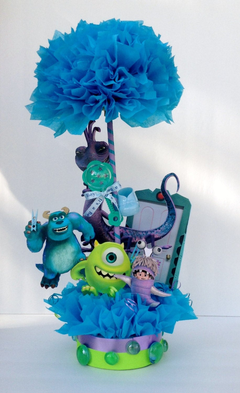 Monsters inc centerpiece baby shower by basketsfromatoz on for Baby shower centerpiece decoration