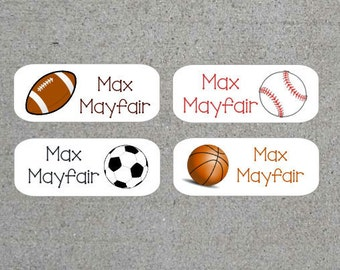 Personalized Kids Name Stickers Name Labels Sports - Football, Soccer, Basketball, Baseball Water Resistant Waterproof Dishwasher Safe