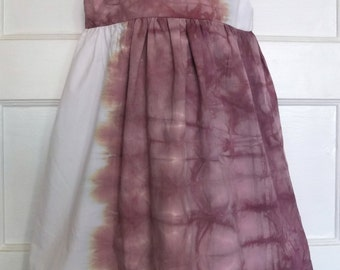 SAMPLE SALE: Mira dress from hand-dyed, upcycled fabric for girls, size 4-5T