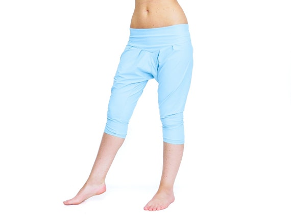 Baby Blue Harem Pants Capri Yoga Pants Drop Crotch Pants