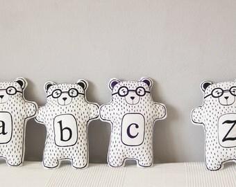 Black and white bear plush toy