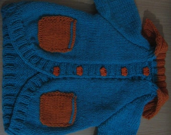 Emerald Green and Orange Baby Knit Jacket. Size 6 months (approx.). Ready to ship.