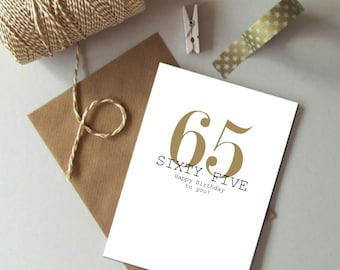 65th Birthday card - Happy 65th Birthday - Sixty five birthday card - Modern age birthday card - Birthday card 65 today