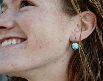 Turquoise mosaic  Cabochon Earrings, Summer earrings,  aqua, blue, green, white
