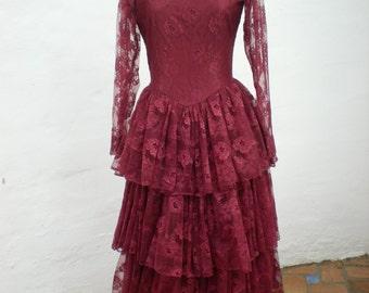 "Vintage Spanish Flamenco Dress - 34"" Bust - Dark Crimson Lace/Rose Pattern Flamenco Dance Dress"