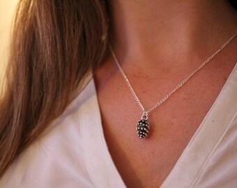 Silver pine cone necklace, dainty silver necklace, pine cone necklace, thin necklace, silver pine cone, pretty pine cone necklace