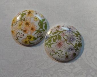 Vintage acrylic floral 27mm round multi color cabochon,2pcs-cab42