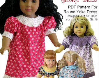 Pixie Faire Genniewren Designs Jessica Round Yoke Dress  Doll Clothes Pattern for 18 inch American Girl Dolls - PDF