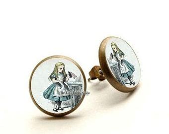 I Love The ALICE IN Wonderland Summer Earrings, Alice in Wonderland Jewelry, Alice stud, Hypoallergenic Earrings