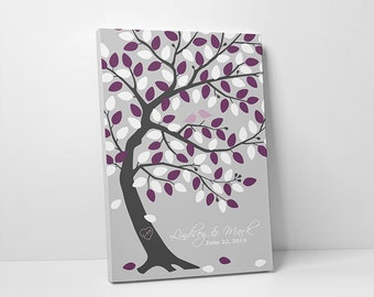 Wedding Guest Book Tree - Alternative Wedding Guestbook - Green Oak Tree - 75-100 Guests - Wrapped Canvas - 16x20,20x30 or 24x36 Inches