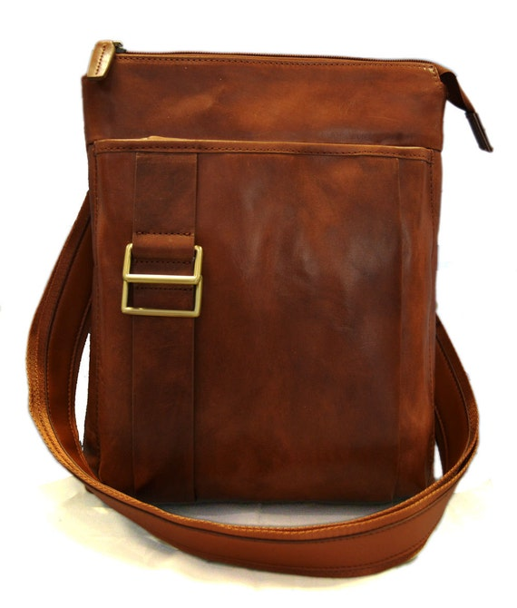 Brown leather shoulder bag mens satchel women messenger