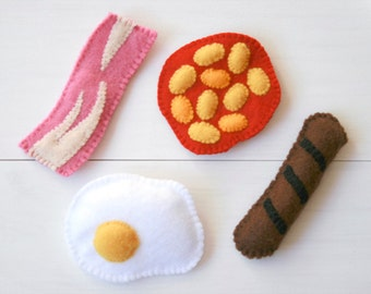 Cooked Breakfast Fridge Magnets, Mini Play Food, Bacon, Fried Egg, Baked Beans, Sausage, Pretend Food, English Breakfast