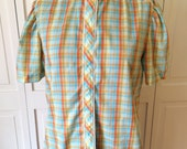 Free ship sweet plaid blouse from Miss Fashionality vintage womens 1970s summer top