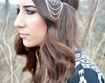 Filigree Head Piece // Headdress // Bohemian Head Accessory // Headband //  Hair Accessory // Boho Head Chain