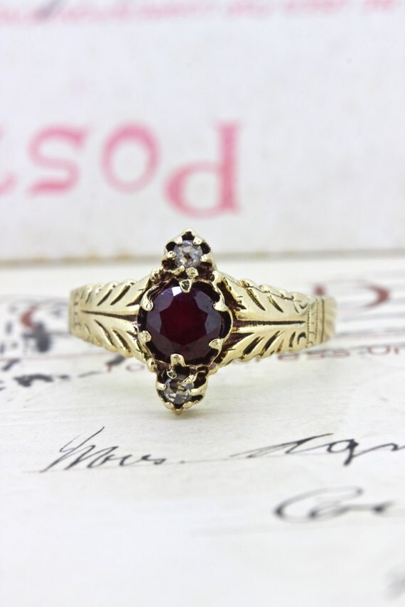 victorian garnet promise ring dainty by fergusonsfinejewelry. Black Bedroom Furniture Sets. Home Design Ideas