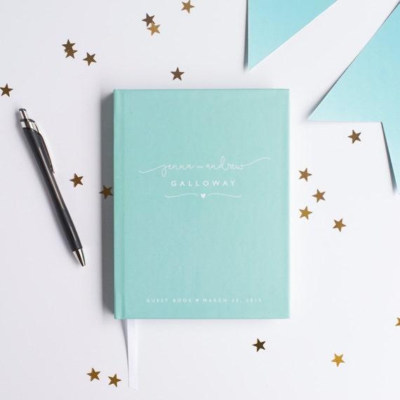 Wedding Guest Book Wedding Guestbook Custom Guestbook Personalized Customized custom design wedding gift keepsake blue modern baby guestbook