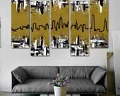 "Original New York skyline painting. 41x64"" 5 piece canvas art. Metallic gold painting. Modern wall art. New York art"